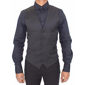 Dolce & Gabbana Siyah Yün Streç Resmi Elbise Yelek Gilet VES10034-1