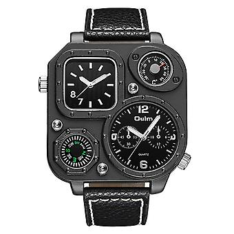 Mens Dual Time Fashion Watch With Thermometer And Leather strap