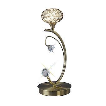 Inspired Diyas - Cara - Tischleuchte 1 Light Antikes Messing, Kristall