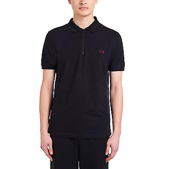 Fred Perry Men's Taped Zip Neck Polo Shirt Regular Fit