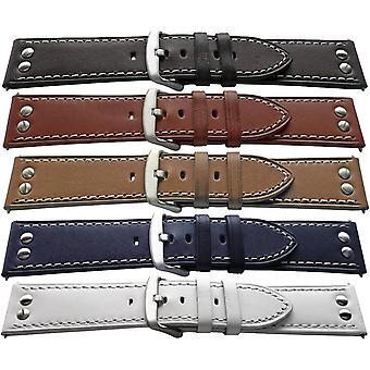 جلد العجل ووتش حزام برشام، والحبوب على نحو سلس 18mm، 20mm، 22mm و 24mm