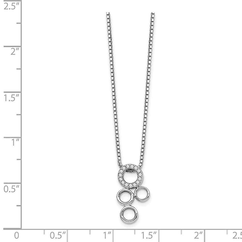 925 Sterling Silver White Ice Diamond Slide Pendant Necklace 18 Inch Jewelry Gifts for Women