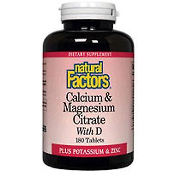 Fatores Naturais Cálcio e Citrato de Magnésio, Mais 180 Abas D