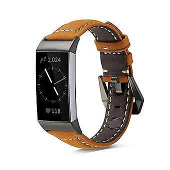 for Fitbit Charge 4 & Charge 3 Band Genuine Luxury Leather Replacement Wristband[Brown]