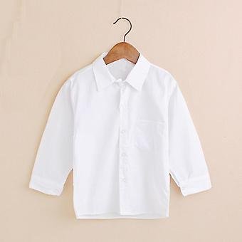 Plain White Baby Shirts, copii Haine Classic Top, Kids Tee Bumbac -fata