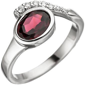 Kvinnors Ring 925 Sterling Silver 1 Garnet Röd med Zirconia Silver Ring Garnet
