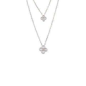 Silver White Flower Clover CZ Bridal Jewellery Double Layered Necklace Pendant