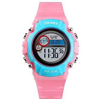 Ceas cu LED Digital Touch Pentru copii cu LED-uri luminoase impermeabile - Roz și albastru