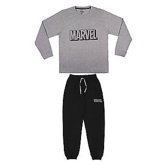 Men's Marvel Logo Harmaa ja musta kalvosinnapillinen pyjamasetti