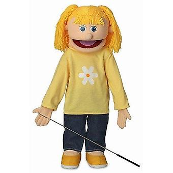 Katie, peach girl, full body, ventriloquist style puppet, 65cm