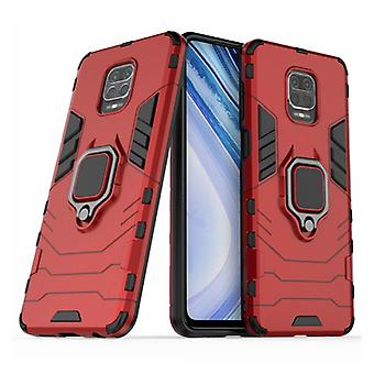 Keysion Xiaomi Redmi Note 9 Case - Magnetic Shockproof Case Cover Cas TPU Red + Kickstand