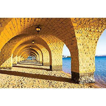 Wall mural the arched stone colonnade