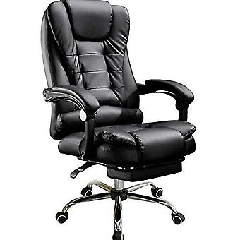 Executive Swivel Office Chair With Footrest Adjustable High Reclining Leather