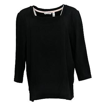 Isaac Mizrahi Live! Damen's Top 3/4 Ärmel Quadrat Hals schwarz A378588