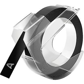 DYMO 3D Prägeband, Etikettierungsband Bandfarbe: Schwarz Schriftfarbe: Weiß 9 mm 3 m
