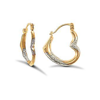 Jewelco London Ladies 9ct Yellow and White Gold Sparkling Heart Creole Earrings