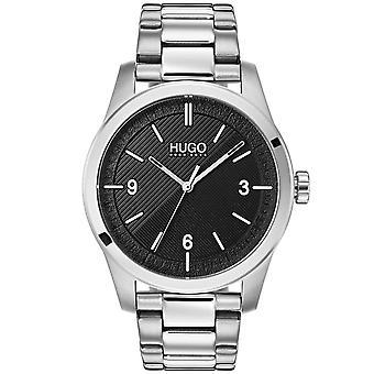 HUGO 1530016 Criar Relógio de Homens De Prata e Negros