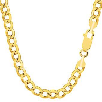14K giallo oro riempito solido cordolo catena collana, 7.0 mm di larghezza