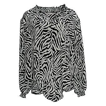 Belle by Kim Gravel Women's Top Zebra-Printed V-Neck Black A383530