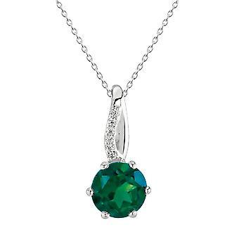 Dew Twist Bale Claw Set Round Synthetic Emerald Cubic Zirconia Pendant 9019SEC028