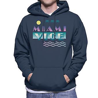 Miami Vice Logo With Sun And Palm Trees Men's Hooded Sweatshirt