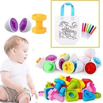 11pcs Montessori Learning Education Toy, Smart Eggs / Plastic Screws 3d Puzzle