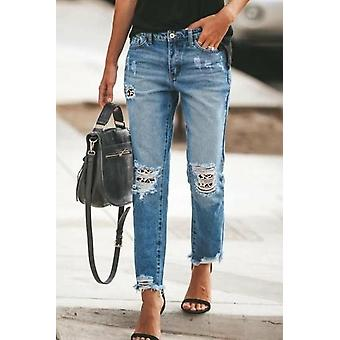 Patchwork Hollow Out Frayed Hem Ripped Jeans