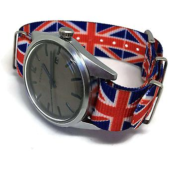 22Mm n.at.o zulu g10 watch strap red white blue british flag union jack pattern stainless buckle