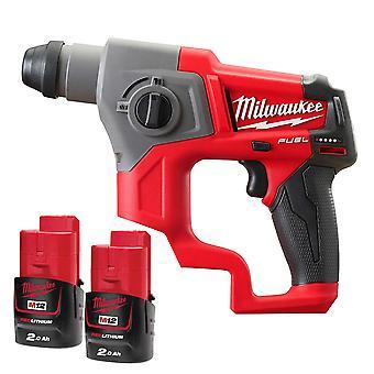 Milwaukee FUEL M12CH-202B M12 12V SDS+ Hammer Drill 2 x 2ah Batteries