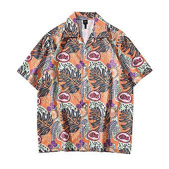 Allthemen Men's Print shirt Loose Casual Short-sleeved Top Summer