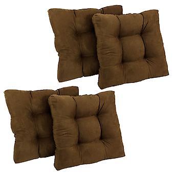 Coussin de chaise à manger tufted microsuede carré de 19 pouces (ensemble de quatre) - chocolat