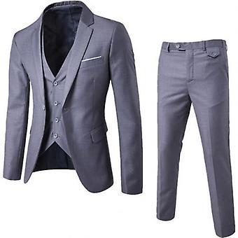 3pcs/set mannen formele blazer + vest + broek pakken sets