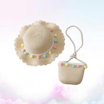 1 set van kinderen zomer strand hoed met cross-body tas