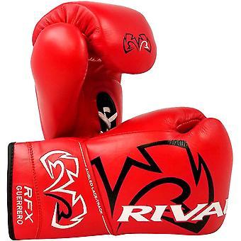 Rival de boxeo el RFX Guerrero HDE-F lucha Pro guantes de boxeo de cuero - rojo con encaje