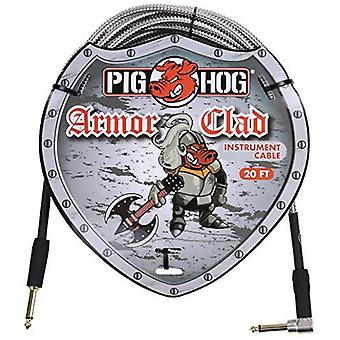 "Pig hog phac-20r armor clad right-angle 1/4"" to 1/4"" guitar instrument cable, 20 feet"