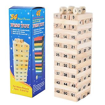 54pcs Mini Tour en bois-domino Building Block
