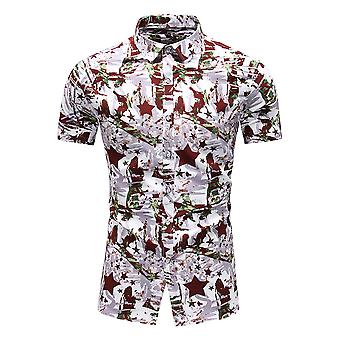 Yunyun Men's Vogue Star Pattern Printed Pointed Collar Short-sleeved Beach Shirt