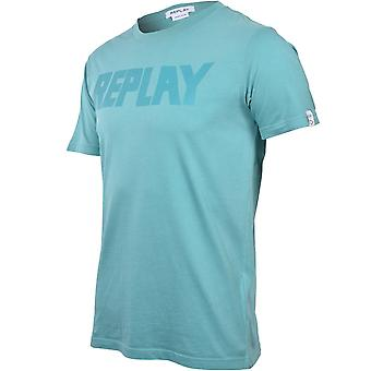 Replay Tonal Chest Logo T-Shirt, Turquoise Blue