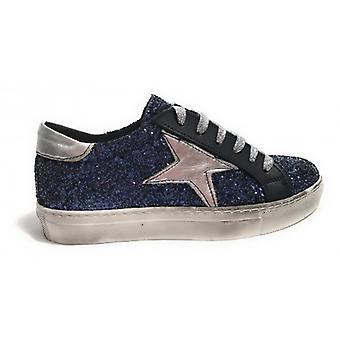 Shoes Woman Tony Wild Sneaker Glitter Blue Star Silver D18tw08