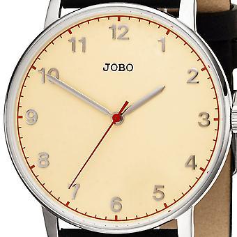 JOBO Men's Wristwatch Quartz Analog Stainless Steel Leather Strap Men's Watch