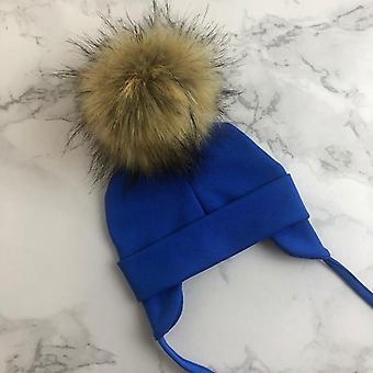 Unisex Faux Pompom Cotton Earflap Caps, For Newborn Baby