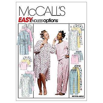McCalls Kuviot 2476 Misses Robe Nightgown Top Housut Shortsit Koko S-L