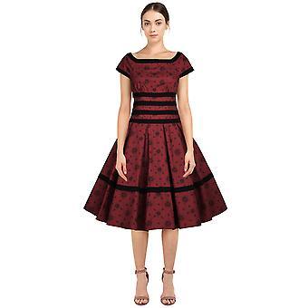 Chic Star Plus Size Recorta vestido retro en rojo / floral
