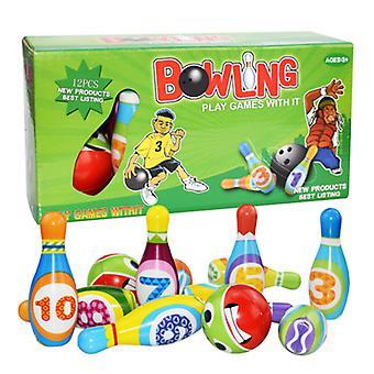 12pcs बच्चों के आउटडोर और इनडोर माता पिता-बच्चे गेंदबाजी खेल खिलौना सेट