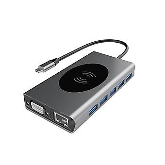14 In 1 Hub Usb-c Dual Hdmi Rj45 Vga Wireless Charging Usb-hub 3.0 Adapter Dock