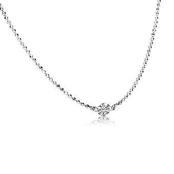 LXR 14K זהב לבן .15 יהלום יחיד על ידי שרשרת החצר עם שרשרת 45cm 0.15ct