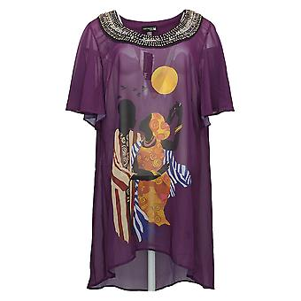 Antthony Women's Top Holiday Luxe Lady Print Hi-Low Tunic Purple 727158