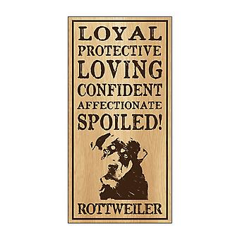 "Sign, Wood, Spoiled Rottweiler, 5"" X 10"""