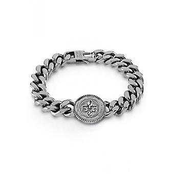 KNIGHT FLOWER Guess Bijoux  - Bracelet acier argent� vieilli pi�ce fleur de lys