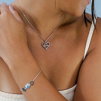 Avec Amour - Pendentif «Love» Heart Icons - Prolongateur 40cm +3cm - Argent - Cadeaux bijoux pour femmes de Lu Bella